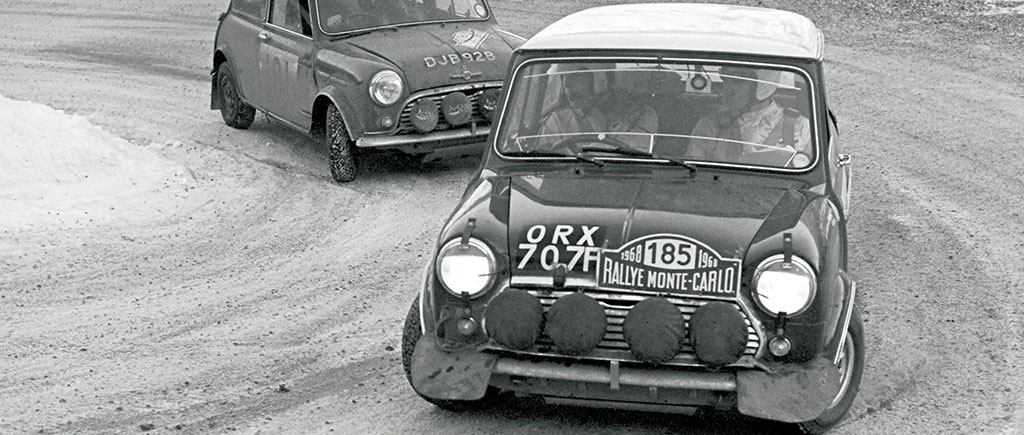 Fall and Wood rallying a Mini Cooper S at the 1968 Monte Carlo Rally